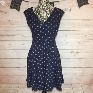 Maeve Ophira Navy Gold Polka Dot Fit Flare Dress S